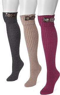 Muk Luks Women's 3 Pair Buckle Cuff Over the Knee Socks