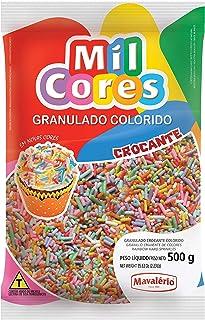 Mavalerio Mil Cores, Gluten Free Vermicelli, Rainbow Hard Sprinkles, Bakery Cake, Ice Cream and Cupcake decorating 500GR