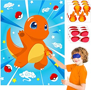 Ticiaga 24pcs Pikachu Kids Party Sticker Game, Pin The Mouth and Fire On Large Charmander Dragon Poster Activity, Pikachu Birthday Party Favor Supplies, Anime Party Decoration, Anime Room Poster Decor