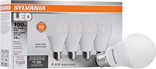 SYLVANIA 78102 Non-Dimmable Led Light Bulb, 14 W, 120 V, 1500 Lumens, 3500 K, CRI 80, 2.375 in Dia X 4.29 in L, Bright White, 4 Piece