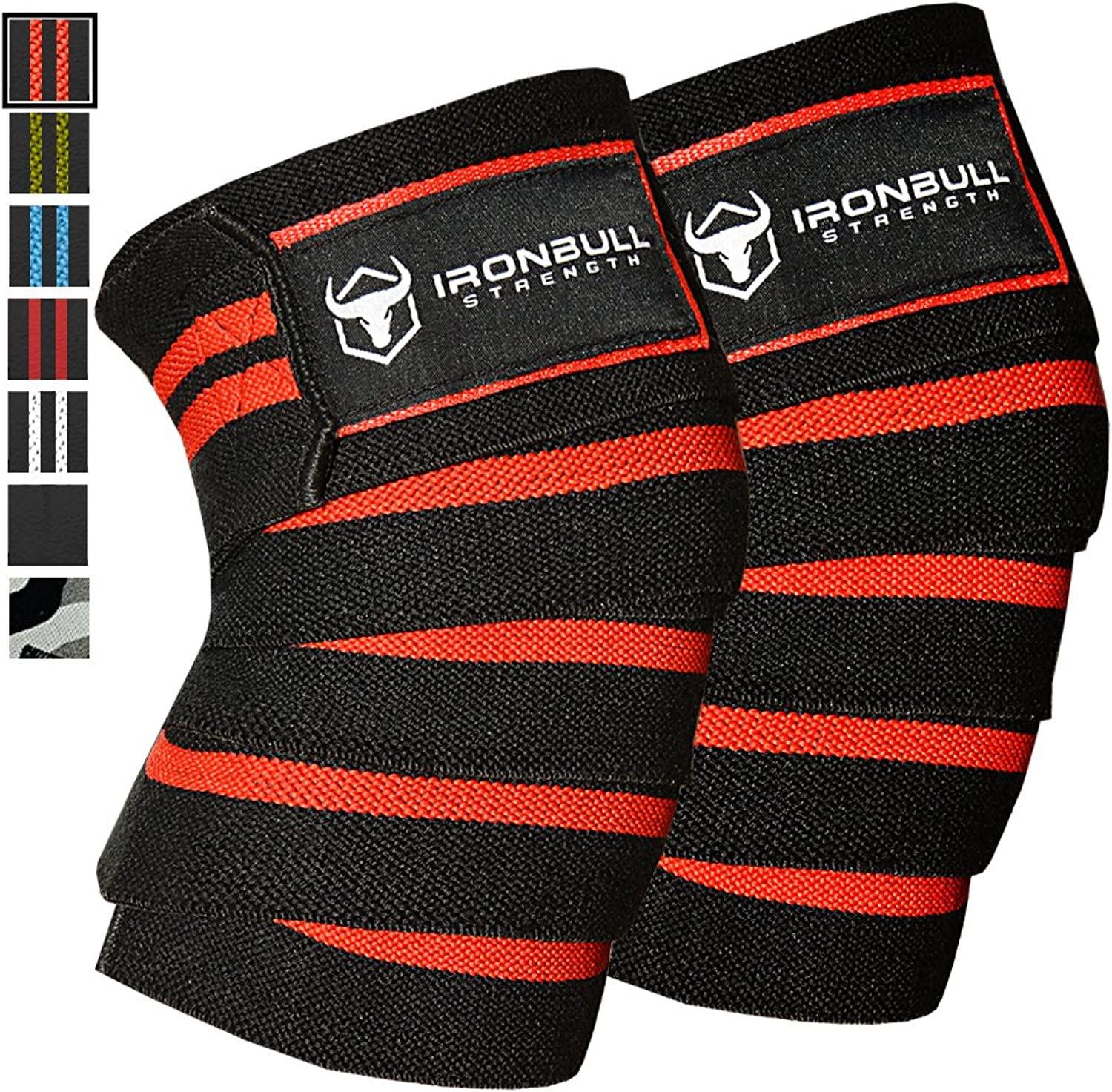 Knee Wraps (1 Pair)  80  Elastic Support & Compression  for Weightlifting, Powerlifting, Fitness, Crossfit WODs & Gym Workout  Knee Straps for Squats