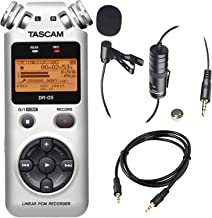 Tascam DR-05 Portable Handheld Digital Audio Recorder (Silver) with Deluxe Accessory Bundle