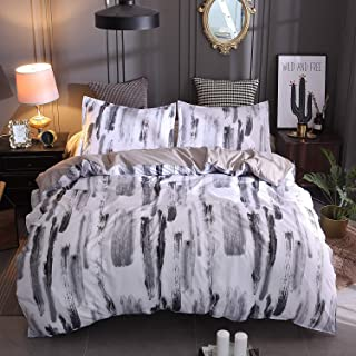 Candy86 3 Piece Super Soft Polyester Duvet Cover Set Splash-Ink Painting/Rock Pattern Pillowcase Bedding Set (White and Gray, King)