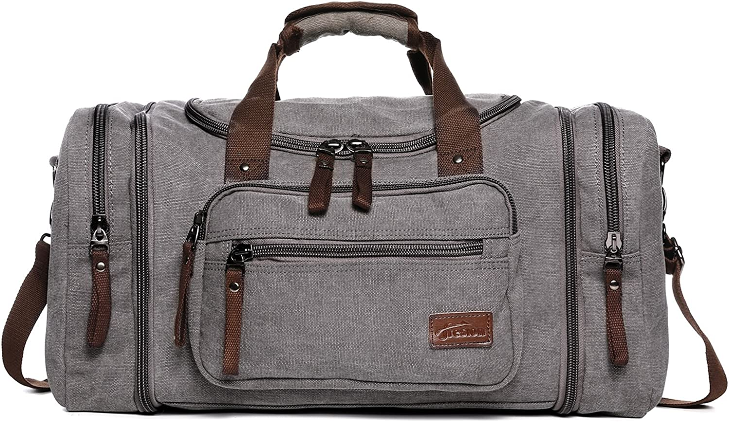 Fresion Large Canvas Travel Tote Bag Men's Weekender Duffle Bag For Women & Men with 44L