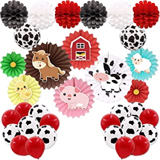 Farm Animal Party Paper Fans Decorations Cow Lanterns Pom Poms Flower Farmhouse Balloons Barnyard Birthday Backdrop Western Cowboy Baby Shower Favors