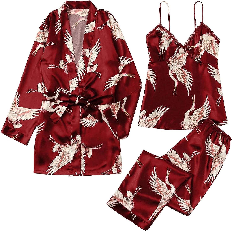 Forwelly Women's Pajamas Set 3 Piece Outfits Satin Kimono Robe + Tank Top + Long Pant Lingerie Nightwear