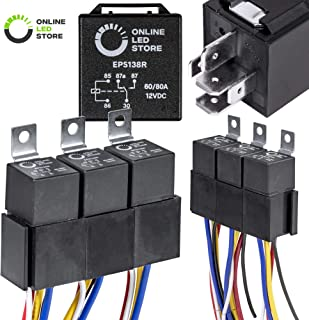 ONLINE LED STORE 5 Pack 12V 60/80 Amp Relay Switch Harness Set - Heavy Duty 5-Pin SPDT Automotive Relays 12 AWG Hot Wires