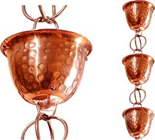 Monarch Pure Copper Hammered Cup Rain Chain, 8-1/2-Feet Length
