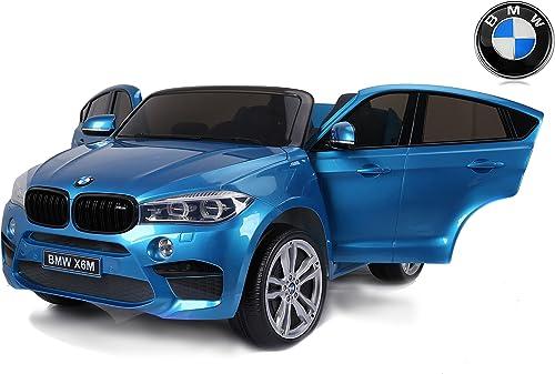 Entrega directa y rápida de fábrica RIRICAR BMW BMW BMW X6 M Coche eléctrico para Niños, 2 x 120W, azul Pintado, Dos Asientos de Cuero, Licencia Original, con Pilas, Puertas de Apertura, Freno eléctrico  deportes calientes