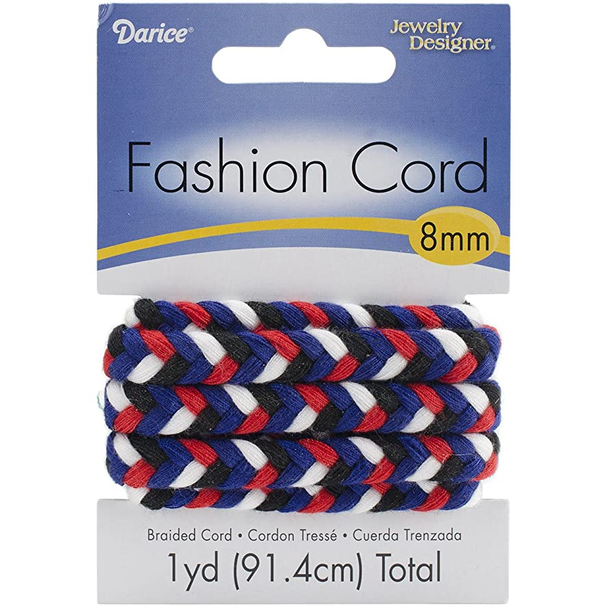 Darice Braided Fashion Cord 8mmX1yd-Red, White, Turquoise and Black