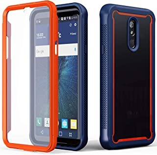 LOVEMECASE LG Stylo 5 Phone Case,[Built-in Screen Protector] Full-Body Rugged Clear Bumper Case with Built-in Screen Protector Hybrid Soft TPU Bumper Back Cover for lg stylo 5+ (Midnight Blue Orange)