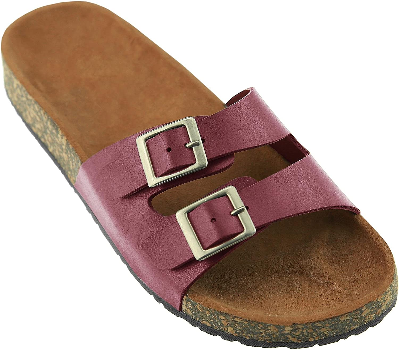 Womens Double Buckle Strap Footed Sandals Slip On Platform Cork Sole Slide Adjustable Flats