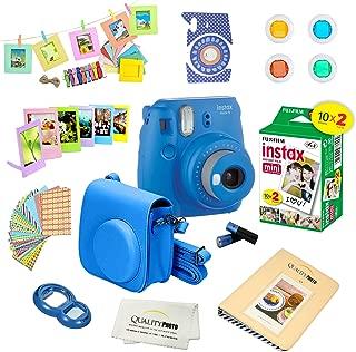 Fujifilm Instax Mini 9 Instant Camera w/Fujifilm Instax Mini 9 Instant Films (20 Pack) + A14 Pc Deluxe Bundle for Fujifilm Instax Mini 9 Camera (cobalt blue)