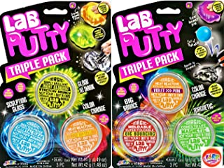 JA-RU Putty Lab Sets (2 Sets 6 Putties) and one Bouncy Ball | Fun Assorted Putties. Magnetic, Heat, Clear, Bouncy, Glowing | 9580-2p