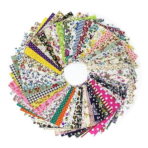 AONER - 100 pcs Tissu 10cm*10cm Carré Patchwork Coton Mixtes Coupon Tissu pour DIY Quilting, Loisir Créatifs