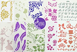 Asian Hobby Crafts Craft Stencils for Sketching, Scrapbooking, Kids Crafts A4 Assorted (Designs as per Availability) : Set of 10pcs
