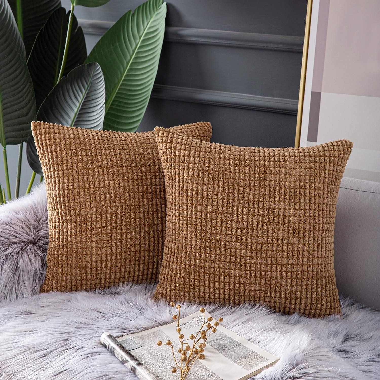 Ashler Set of 2 Soft Coffee Corduroy Corn Stripped Both Sides Throw Pillow Cushion Cover 18 x 18 inch 45 x 45 cm