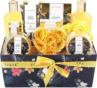 Spa Luxetique Coffret de Bain pour Femme, Parfum Tropical,12PC Coffret Cadeau, Boîteen Tissu,Gel Douche,Cadeau pour l'Anni...