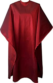 JNxcel Premium Quality Water Repellent Nylon/Polyester Fabric Hair Salon & Barber Hair Cutting & Shampoo Cape with Snap Closure (Burgundy)
