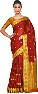 MIMOSA Art Crape Silk Wedding Saree Kanjivarm Pattu Style with Contrast Blouse Color: Red (4274-2272-2D-MRN-MST)