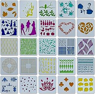 Bullet Journal Lot de 25 pochoirs en plastique I Mandala I Accessoire de scrapbooking I Pochoirs à dessin I Pochoirs pour ...