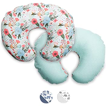 Boppy Premium Pillow Cover, Mint Floral, Ultra-Soft Microfiber Fabric in A Fashionable Two-Sided Design, Fits All Nursing Pillows & Positioners, Blue