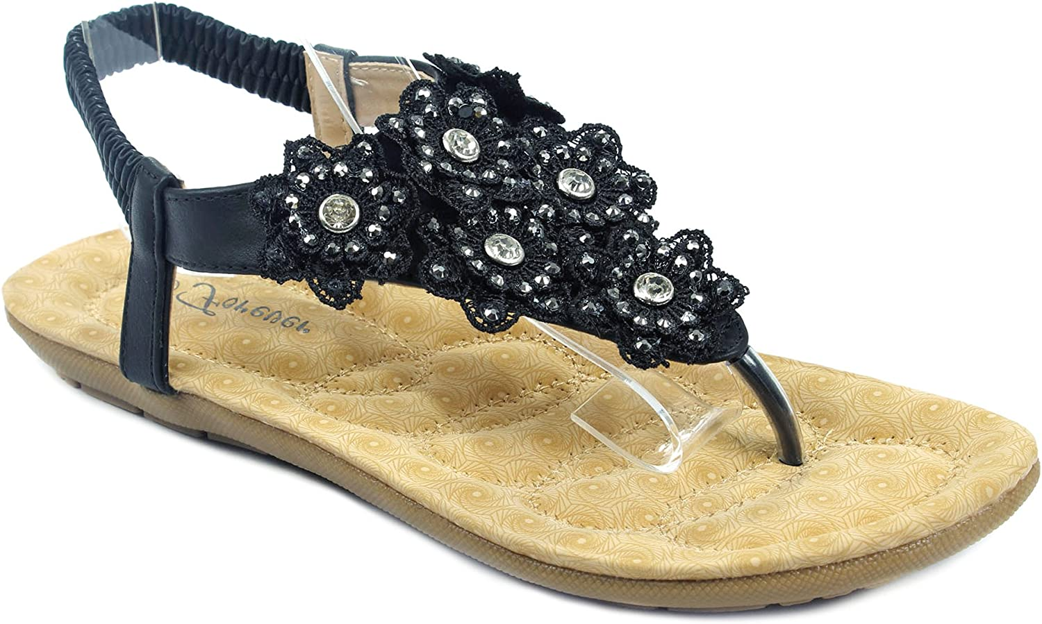Forever Calista67 Womens Lace Flower Rhinestone T-Strap Slingback Thong Sandals