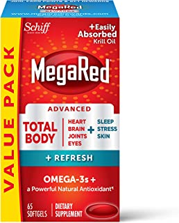 Omega-3 Blend Total Body + Refresh 500mg Softgels, MegaRed (65 count in a bottle), Easily Absorbed Krill Oil, To Support Y...