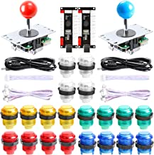 Easyget New Updated 2-Player LED DIY Arcade Kit 2X Zero Delay USB Encoder + 2X Joystick + 20x LED Arcade Buttons for PC, Windows, MAME, Raspberry Pi Arcade DIY (2-Player, Mixed Color Kit)