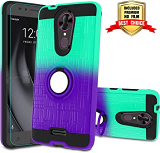 Coolpad Revvl Plus Phone Case,Coolpad Revvl Plus Phone Case with HD Screen Protector,Atump 360 Degree Rotating Ring Holder Kickstand Bracket Cover Phone Case for Coolpad Revvl Plus Mint/Purple