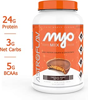 AstroFlav MyoMix Premium Whey Protein Powder, Advanced Protein Blend with Isolate and Concentrate for Muscle Building, 24g Protein Meal Replacement with MCT Oils, 28 Servings, Peanut Butter Cup