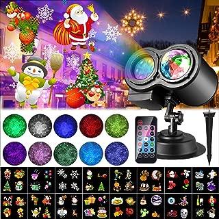 Luces de Proyector Navidad, ALED LIGHT Impermeable Exterior Decoración Luz de Proyector con Control Remoto y 16 Diapositivas de Patrón para Fiesta, Navidad, Festivos