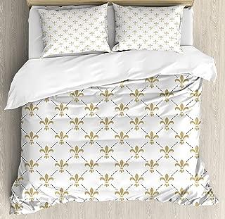 Ambesonne Fleur De Lis Duvet Cover Set, Fleur De Lis Pattern Vintage Flower Royal Design, Decorative 3 Piece Bedding Set with 2 Pillow Shams, Queen Size, White Camel