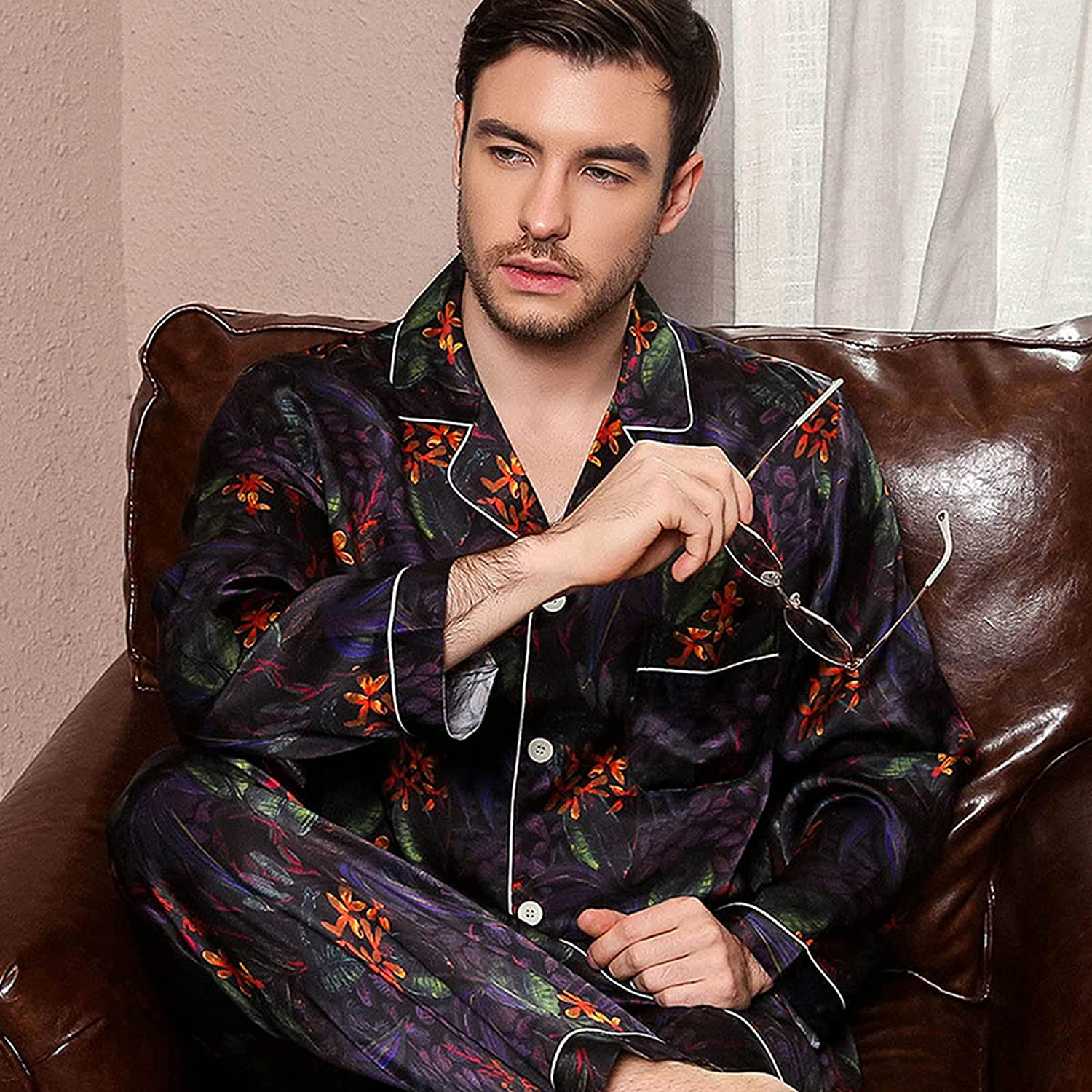ML New product! New type S HJDY Cheap mail order sales Men's Pajamas Silk Long-Sleeved Set