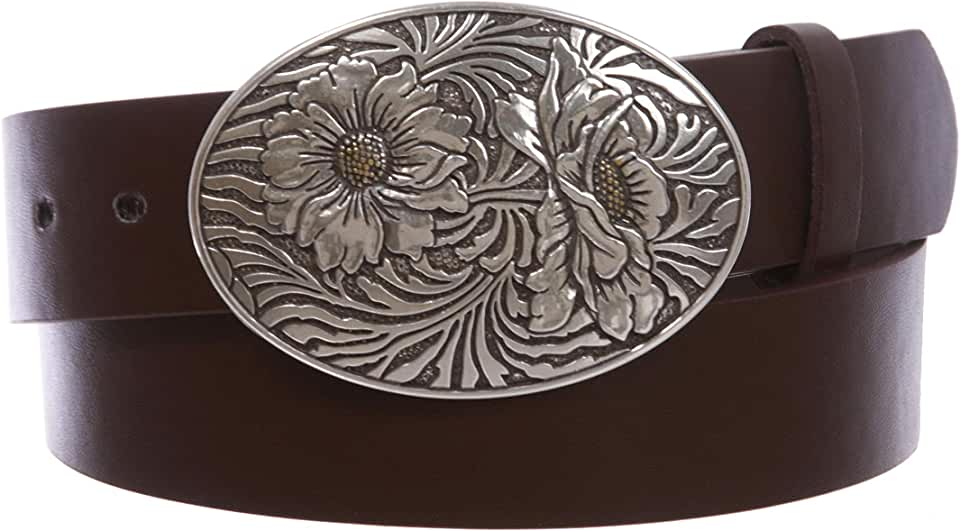 """1 1/2"""" Snap On Oval Sunflower Engraving Buckle With Leather Belt"""