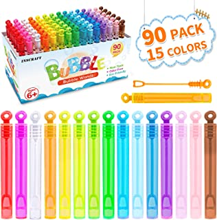 Bubble Wand, 90 Pack Mini Bubble Wands Bulk 15 Colors for Summer Toys, Wedding, Outdoor Indoor Activity Use, Bubbles Party Favors for Kids Toddlers by Inscraft