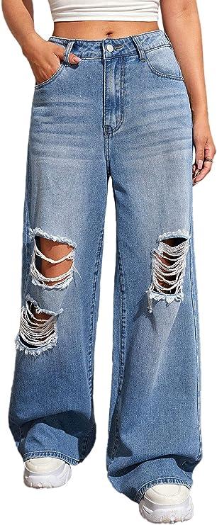 80s Jeans, Pants, Leggings | 90s Jeans SweatyRocks Womens Casual Loose Ripped Denim Pants Distressed Wide Leg Jeans  AT vintagedancer.com