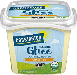 Carrington Farms USDA Organic Grass Fed Ghee, Clarified Butter, Lactose Free, Casein Free, Gluten Free, Non Hydrogenated, 0g Trans Fat, BPA Free, 12 Ounce