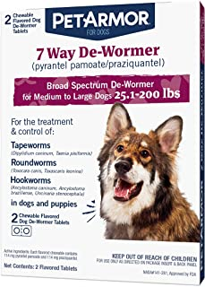 PetArmor 7 Way De-Wormer (Pyrantel Pamoate and Praziquantel) for Dogs, Includes Chewable Flavored Dog De-Wormer Tablets fo...