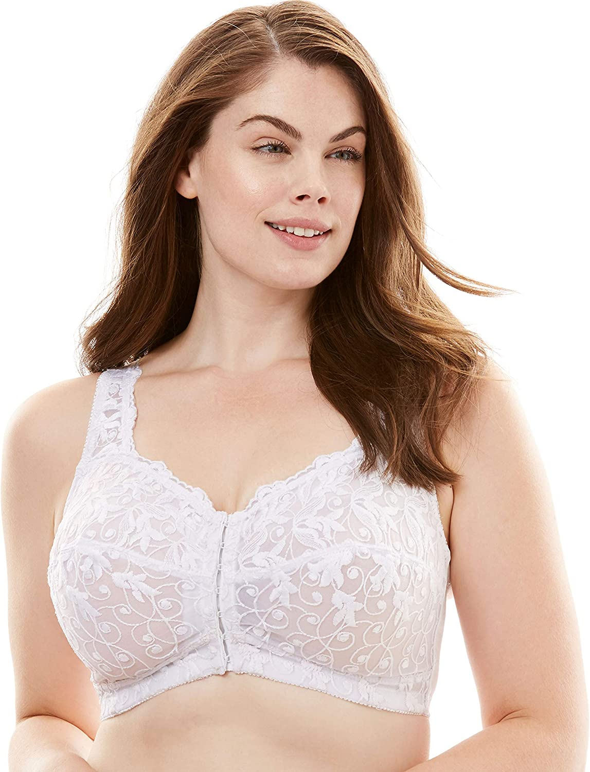 Amoureuse Women's Plus Size Scroll Embroidered Wireless Front-Close Bra