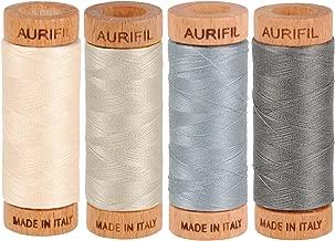 Aurifil 80wt Egyptian Cotton Thread, (4) 306 Yards (280 Meters) Spools, Colors: Light Sand (No. 2000), Light Blue Grey (No. 2610), Grey Smoke (No. 5004), Moondust (No. 6725)
