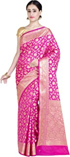Chandrakala Women's Pink Kataan Silk Blend Banarasi Saree,Free Size(1282PIN)