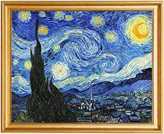 Eliteart- Starry Night by Vincent Van Gogh Oil Painting Reproduction Giclee Wall Art Canvas Prints-Framed Size:19