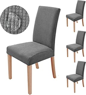 sorliva Juego de 4 fundas de silla universales elásticas de franela elástica de lujo para silla de hotel, comedor, comedor, boda, fiesta, banquete, decoración