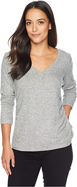 Brushed V-Neck Top with Ruching