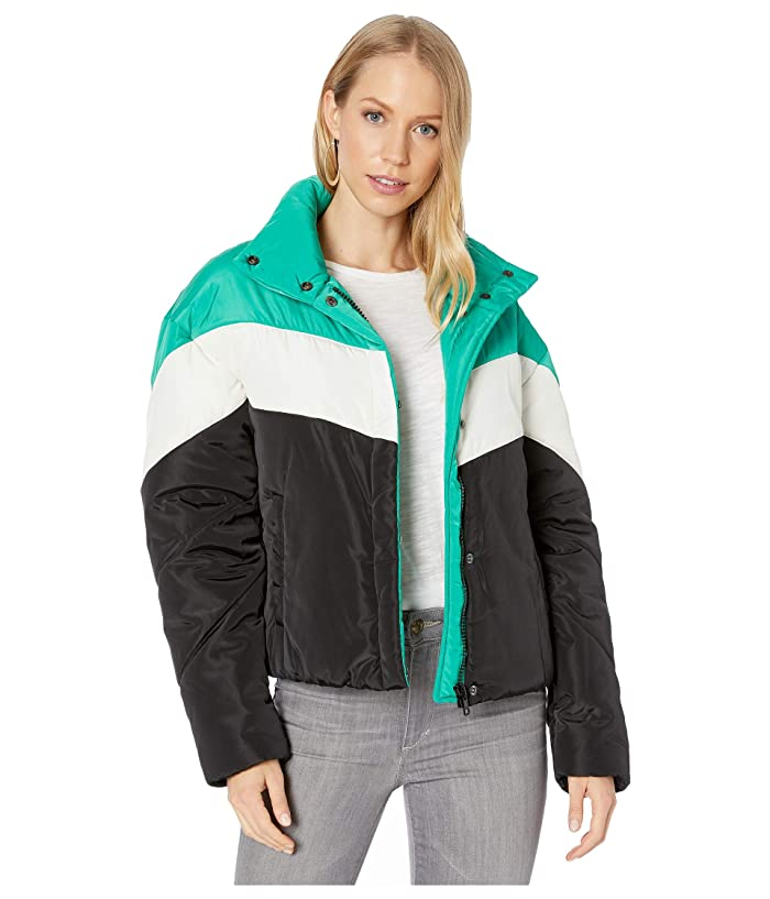80s Windbreakers, Jackets, Coats Sanctuary Ski Club Puffer EmeraldBlack Stripe Womens Clothing $103.05 AT vintagedancer.com