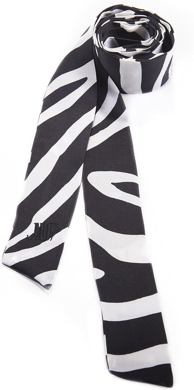 Luxury Silk Charmeuse Long Skinny Scarf in Zebra Print