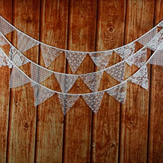 Natsunohi Flag Garland Fabric Bunting Cotton Banner DIY Wedding Party Christmas Home Decorative Hanging Ornaments (White Lace)