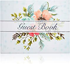 Guest Book - 72-Sheet Wedding Guest Book for Business Banquet, Baby Shower, Graduation Party, Floral Print Design, 8.3 x 6.25 x 0.45 Inches