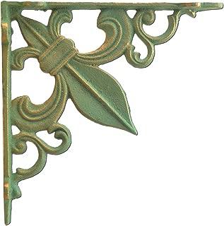 Wall Shelf Bracket Fleur De Lis Cast Iron Custom Shelves Brace Bronze Patina Green 7.375